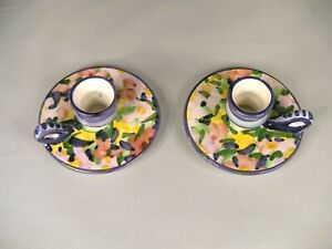 Pair of Small, Colorful, Hand Painted Candlesticks from Portugal