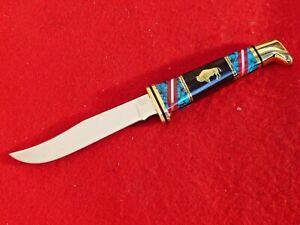 "Buck USA 7-7/8"" Custom WOODSMAN Yellowhorse #15 Fixed Blade Knife MINT/Display"