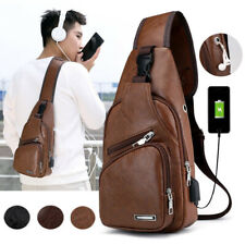 Herren Leder Brusttasche Bauchtasche mit USB Port Umhängetasche Reisetasche Bag