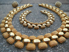 Vintage ERWIN PEARL Cleopatra Collar Necklace with Bracelet & Earring Set 1980's