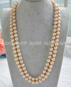 Elegant Long 38inch 9-10mm natural round south sea gold pink pearl necklace 14k