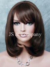 HUMAN HAIR Blend Straight Dark Brown Auburn Mix HEAT SAFE CUTE Wig WBPM 4-30