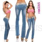 New Women's Jeans Size 10 12 14 2 4 6 8 XS S M L XL Boot Flare Cut Bootleg Pants