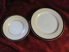 Fitz & Floyd saucer & salad plate lot Montmartre cream black gold rim 1982
