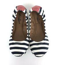 Lucky Brand Women's Erin 2 Blue Striped Nautical Ballet Flats Size 8.5M