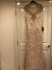 new long wedding evening formal dress party ball Size 14 16 18 Nude Lined
