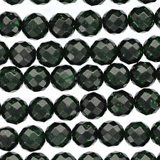 Dark GREEN GOLDSTONE Round Faceted Beads 6mm . 1 long strand . 65 beads ggs0020