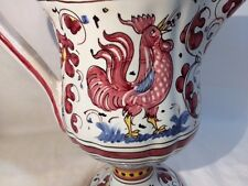 "9"" PEDESTAL PITCHER Ruby Red Singing ROOSTER HANDPAINTED Marked PV ITALY 06417"