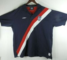 Umbro England Polo Shirt Adult 2XL Blue Red Soccer Futbol Rugby Mens Ships Free