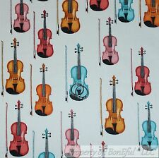BonEful Fabric Cotton Quilt White Rainbow Stripe Brown Violin Music Band L SCRAP