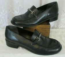 Vtg Womens 90s Tommy Hilfiger 10 M Black Platform Horse Bit Loafer Leather Euc