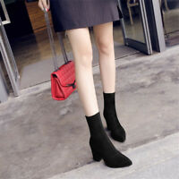 Women Solid Faux Suede Zip Short Ankle Boots Block High Heels Pointed Toe Shoes