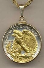 J&J Coin Jewelry Necklace Golden Eagle Reverse Walking Liberty Half Dollar