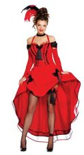 Ladies Sexy Red Saloon Girl Burlesque Hen Do Western Fancy Dress Costume Outfit