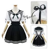 Fancy Black /Dark Blue Japanese School Girls Sailor Uniform Cosplay Costume