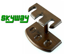 Skyway 3 Pipe Wood Tobacco Pipe Stand Rack Holder - Walnut Brown - Brand New