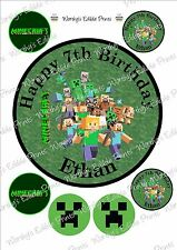 "7"" Personalised Minecraft Cake Topper & 6 x 5cm Cupcake Toppers Edible Icing"