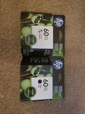 HP60XL BLK and HP60 TRI-COLOR INK Cartridge Combo NIB OEM