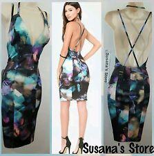 NWT BEBE ADRIANA BOUBLE STRAP PRINT  Dress SIZE  XL  So Sexy, $160.00