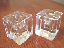 "Pair of Crystal 2"" square  candle holder Beveled edges  dress up your table"