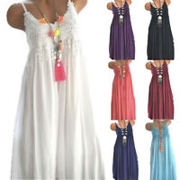 Plus Size Womens Summer Lace Sundress Sleeveless Plain Beach Mini Dress Tops