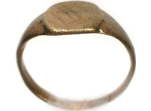 200AD Genuine Roman Dacia (Romania) Bronze Geometric Style Engraved Ring Sz4½