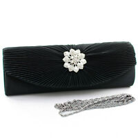 Women Pleated Flap Evening Clutch Bag Purse w/ Rhinestone Floral Brooch