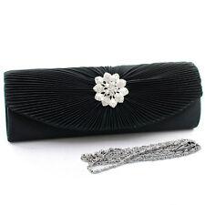 Women Pleated Flap Evening Clutch Bag Purse w/ Rhinestone Floral Brooch