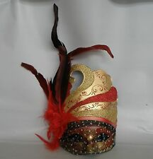 Venetian Masquerade Party Mask - Red & Gold With Red Feathers & Flower