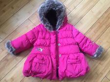 NEW CATIMINI Coat Jacket Top Fur Hood Hoodie Bubble Puffer 6M Designed in France