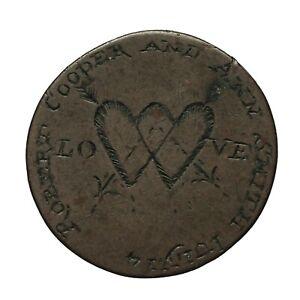 "Georgian Engraved Halfpenny Love Token  ""Robert Cooper and Ann Smith July 14"""