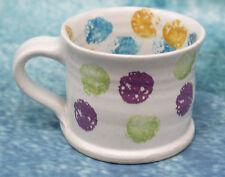 Vintage Studio Art Pottery Mug Sponge Ware Polka Dot Spot Pattern Signed JP VGC