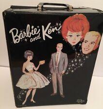 Vintage 1963 Mattel Barbie & Ken Doll Case Black RARE Toy