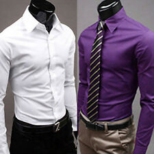 Mens Fashion Casual Candy Color Long Sleeve Slim Fit Dress Shirt Top Reliable