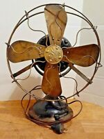Antique 12 Inch GE Cast Iron Brass Blade & Cage 3-speed Fan 1901 Working Great.
