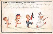 Nackte Kinder Soldaten Postkarte 1.WK