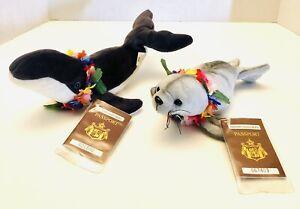 NWT Hawaiian Collectibles Barking Monk Seal & Humpback Whale Plush W/ Passport