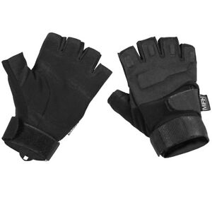 MFH Protect Tactical Fingerless Gloves Military Army Ops Security Police Black