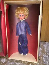 Vintage BAMBOLA 37 cm Abito JEANS stile Furga MIB made in GDR anni 70