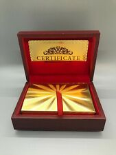 New 24K Gold Foil Plated Deck of Poker Playing Cards w/Wood Box and Certificate