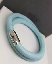 Authentic ENDLESS JEWELRY Light Blue Leather Double Wrap Charm Bracelet 38cm