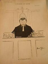 L'Homme du Jour M. Le Président St Aubin Avocat Justice Print Art Déco 1906