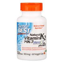 Doctor s Best  Natural Vitamin K2 MK-7 with MenaQ7 plus Vitamin D3  180 mcg  60