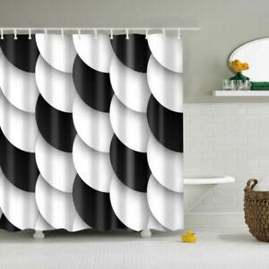 Black White Circle Polyester Waterproof Bathroom Fabric Shower Curtain 12 Hook
