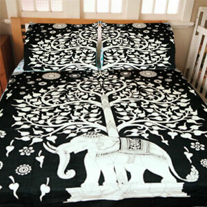 Mandala Elephant Tree Life Quilt Duvet Cover Blanket Queen Size Doona Cover Set