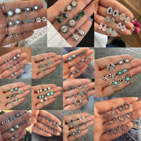 Vintage Boho Jewelry 6/12Pairs Women Rhinestone Crystal Pearl Earrings Ear Studs