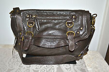 NWT $469 ABACO Paris JAMES JAVA Lambskin Leather Saddle Bag Dark Brown