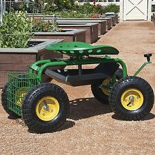 Garden Seat on Wheels Gardening Stool Rolling Cart Tools Lawn Gardening Planting