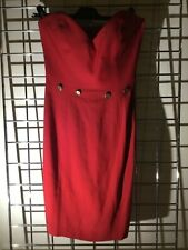 MOSCHINO COUTURE RED MINI DRESS 6 BODYCON BUSTIER STRAPLESS HEART PARTY PIN UP