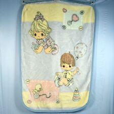 Precious Moments Baby Blanket Plush Thick Furry Girl Boy Duck Pastel Crib 30x45